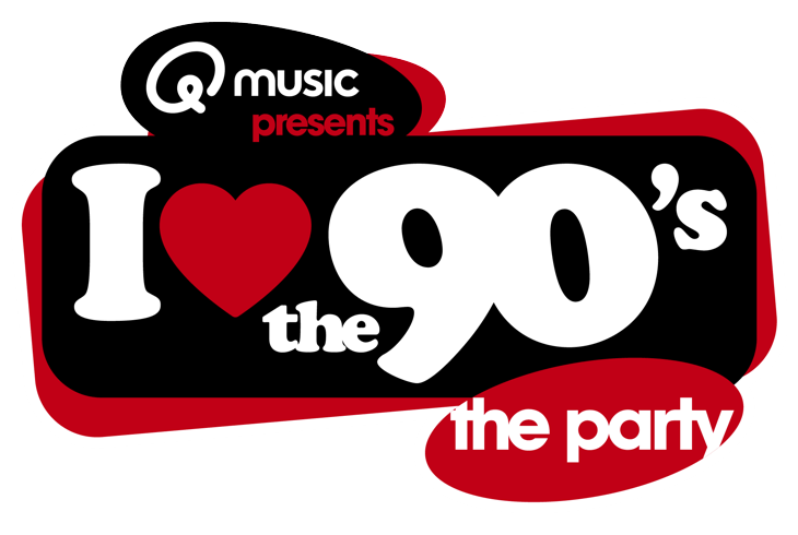 The logo of QMusic - I love the 90's the party, a partner of Bot-O-Comment.